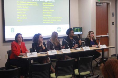 A panel of women involved in politics speak about the impact of the #WeSaidEnough letter one year at the Downtown Sacramento State Campus. The letter published originally in the Los Angeles Times acted as a rallying point for women in the legislature to come forward and speak out about the pervasive attitudes involving sexual harassment in the capitol.