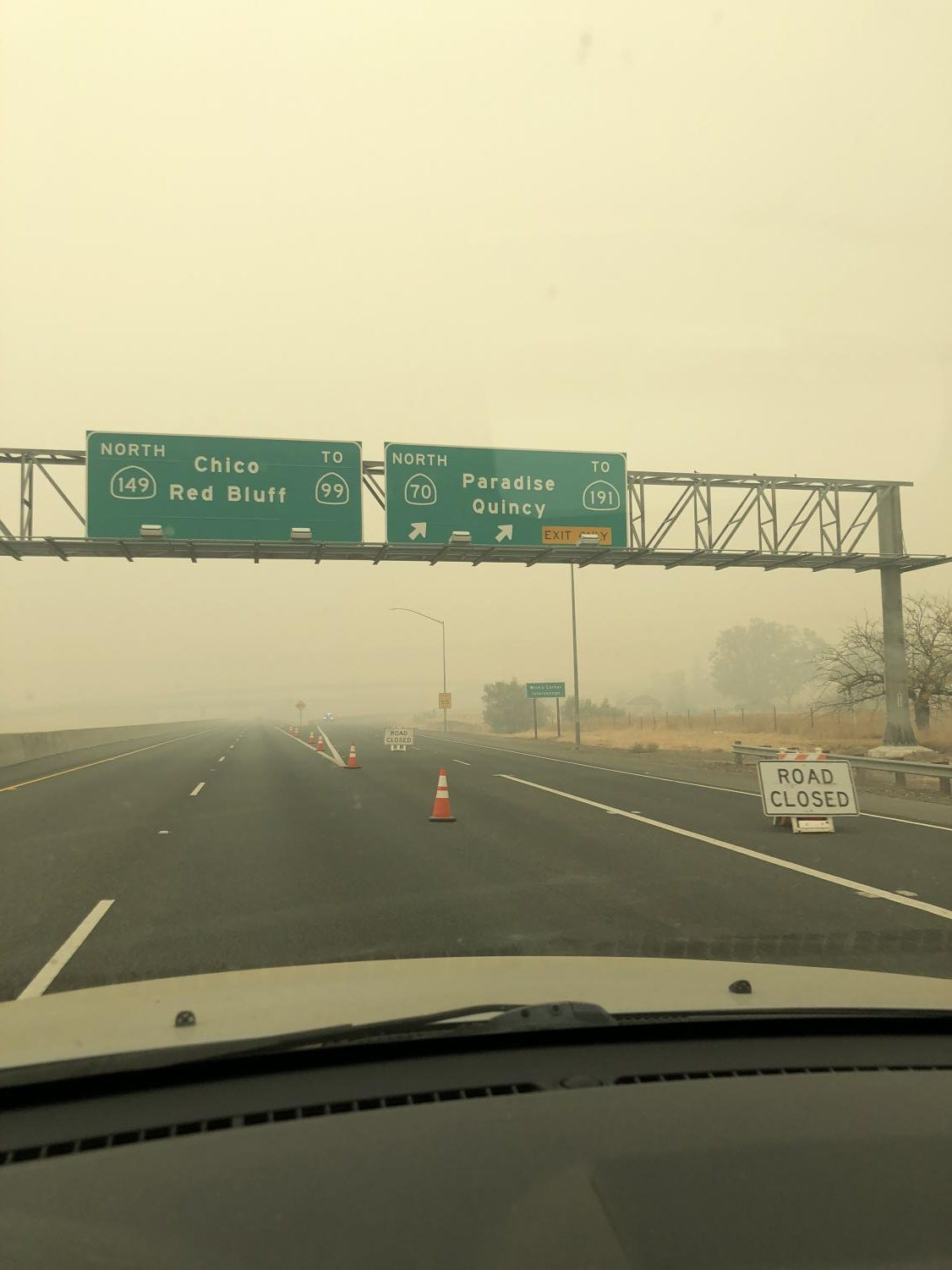 I cried tears while driving past the Paradise junction on my way through Oroville. All roads to Paradise and Magalia are completely blocked while emergency personnel work through the aftermath of the Camp Fire.