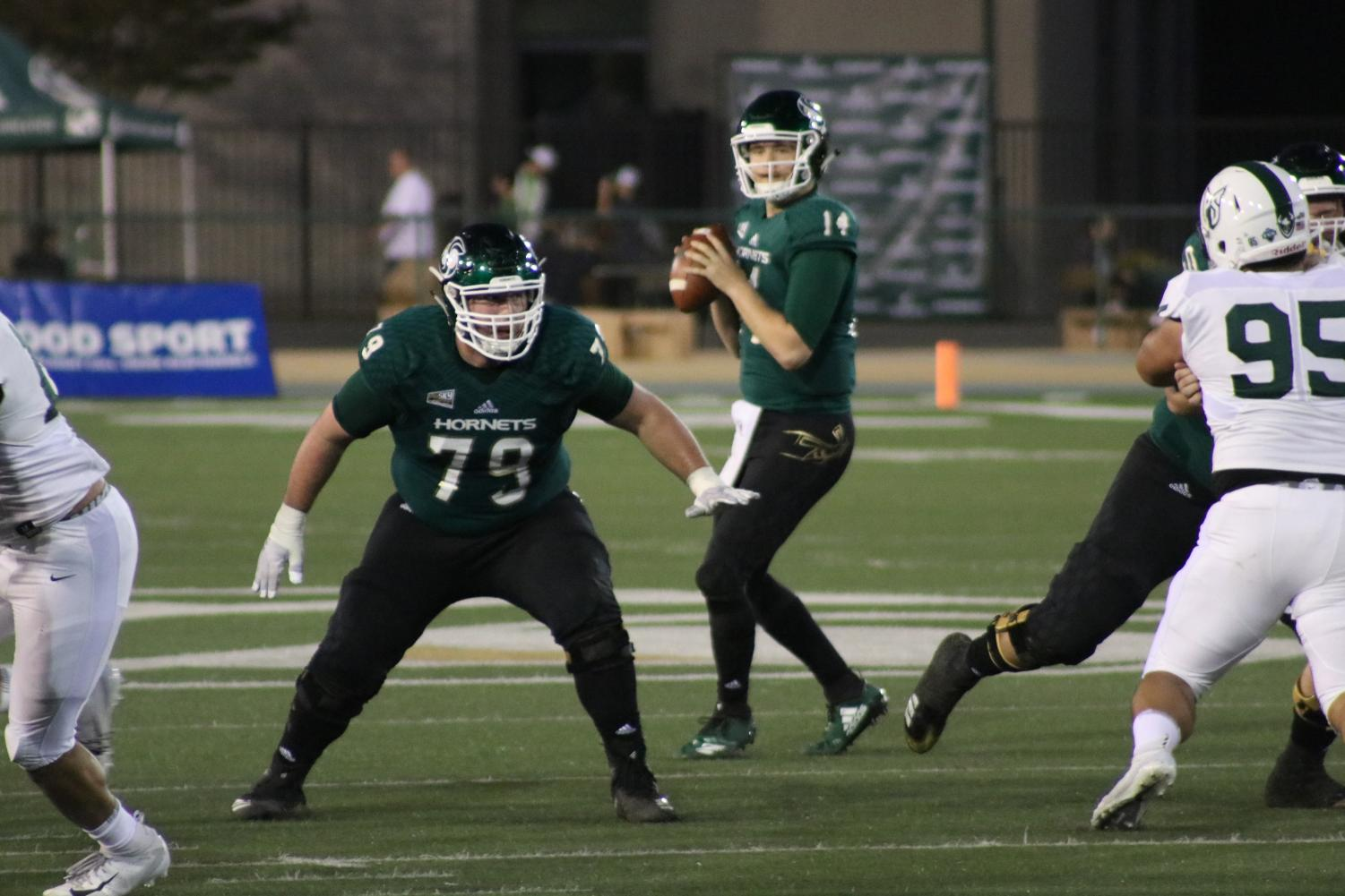 Sac State quarterback Wyatt Clapper looks to pass the ball in the Hornets 41-14 loss to Portland State Saturday, Oct. 27.