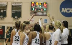 The Hornets huddle and go over defensive schemes with 13.5 seconds left and a 87-82 lead against Cal Poly Nov. 11.