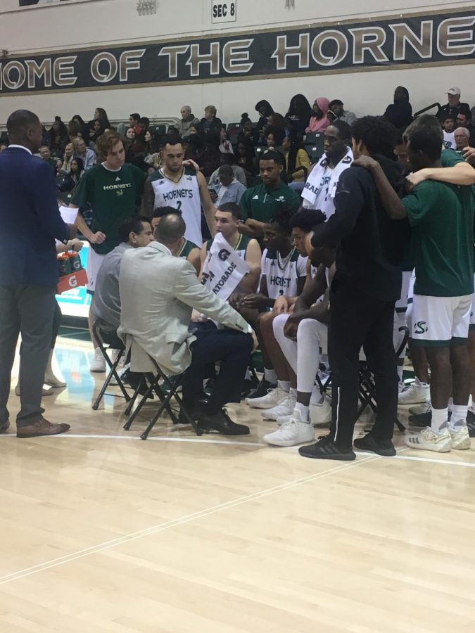 Sac+State+head+coach+Brian+Katz+talks+to+the+team+during+a+timeout+in+the+second+half+of+the+Hornets+76-52+win+over+Simpson+University+on+Friday.+