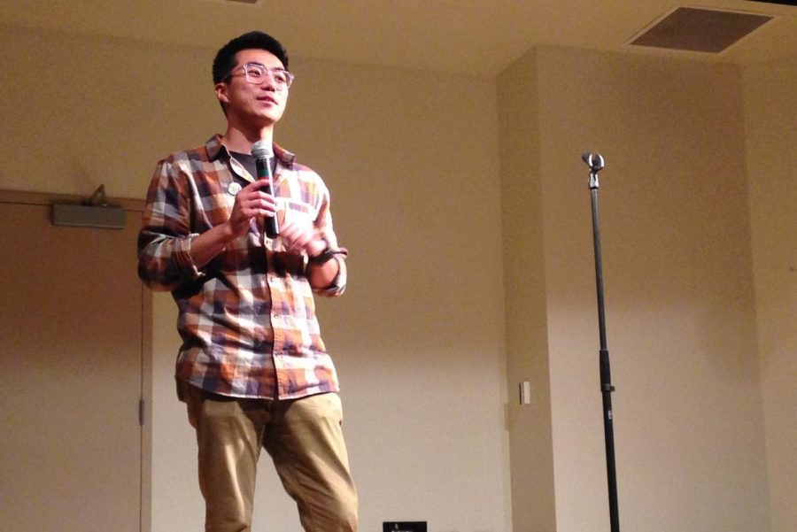 Improv, Why Not? president JinBae Jung acted as show host and performer in the comedy club's show to raise donations for Sac State's homelessness resources Nov. 10, 2018. He said the event was also for self-care.