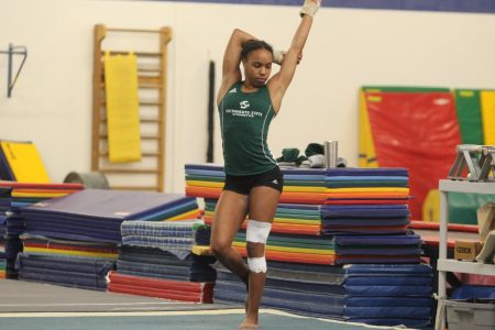 Sac State sophomore Jordyn Brent warms up during a practice prior to her freshman season. Brent competed on three events for the Hornets for much of her freshman season before an ankle injury held her to just one event.