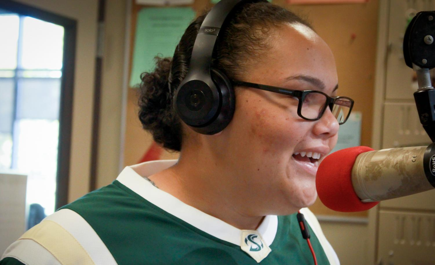 Sage Beamon, a Sacramento State sophomore, hosts her weekly radio show recorded in the KSSU studio located at the ASI hotspot on campus on Monday, Nov. 5.
