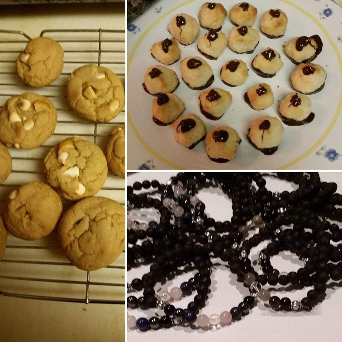 Rebecca Alexander makes homemade gifts for friends and family. To the left are white chocolate macadamia nut cookies for her sister, upper right are vegan macaroons for her friend, and bottom right are diffuser bracelets she made for friends and family.