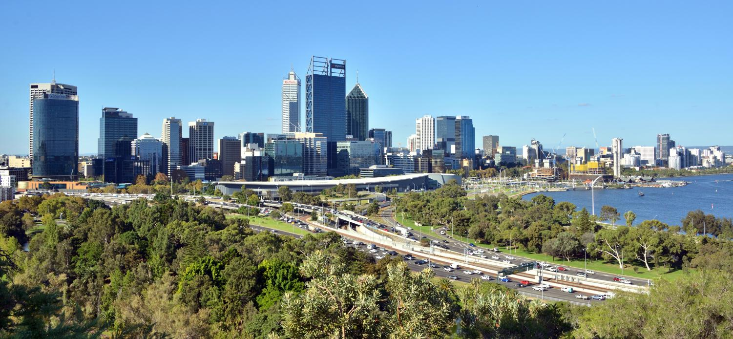 The skyline of Perth in Western Australia. Australia is currently a part of the Sac State study abroad program.