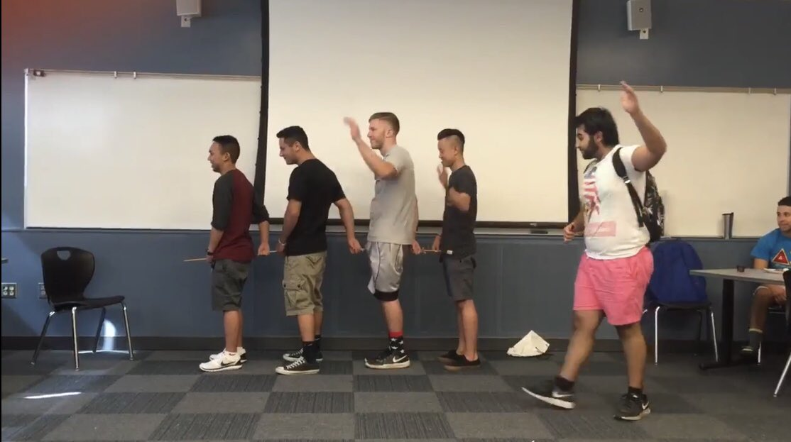 Sacramento State is investigating a potential hazing incident after an anonymous person emailed The State Hornet and President Nelsen's interim chief of staff Cely Smart. The sender described the photo as depicting an imitation of 'the elephant walk,' a hazing practice where members stand in a line or circle and walk while holding the genitals of the person behind them.