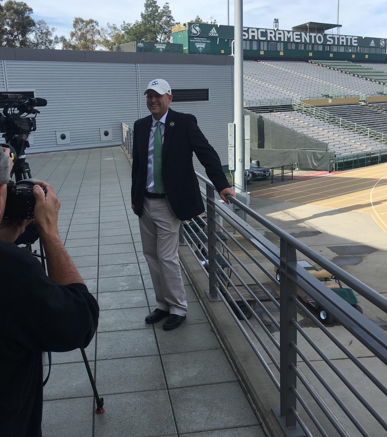 Sac State football coach Troy Taylor overlooks the football stadium he will be coaching in. Taylor was named head coach on Dec. 17, 2018 after the Hornets fired Jody Sears.