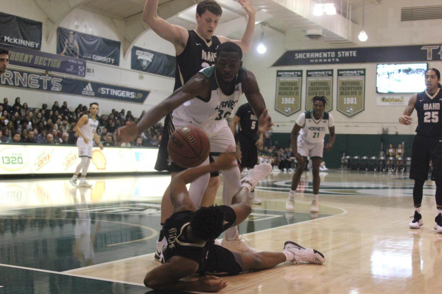 Sac State junior center Joshua Patton dives for the ball during the Hornets 69-48 win over the University of Idaho on Thursday. Patton finished the game with 13 points and 8 rebounds.