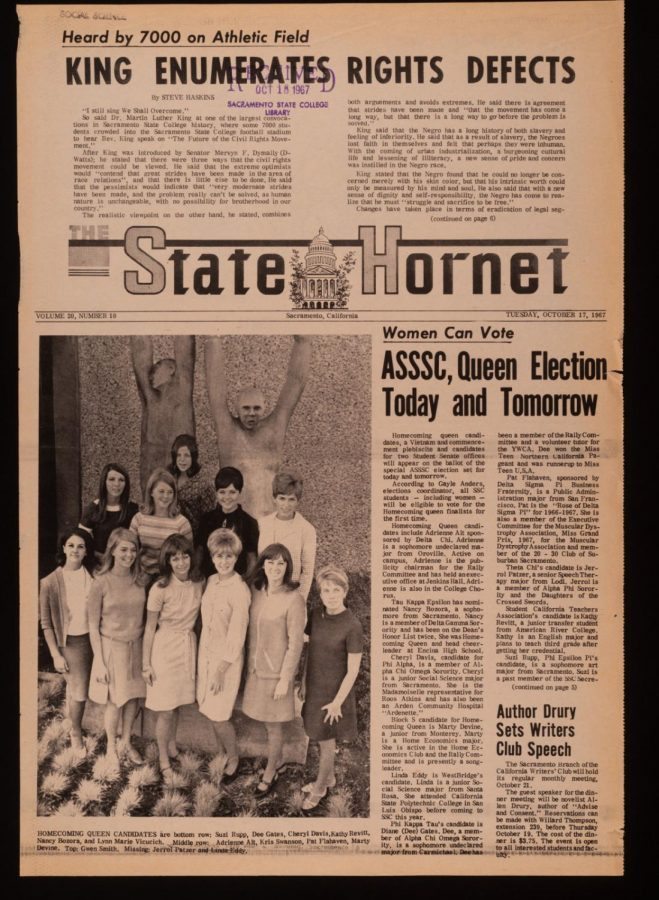 The+Tuesday%2C+Oct.+17%2C+1967+issue+of+The+State+Hornet%2C+featuring+coverage+of+Martin+Luther+King+Jr.%27s+visit+to+Sac+State.