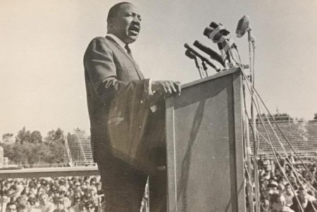 Civil rights leader Martin Luther King Jr. delivered a speech about racial inequality in front of approximately 7,000 students at Sacramento State College, now named Sacramento State, on Oct. 16, 1967.