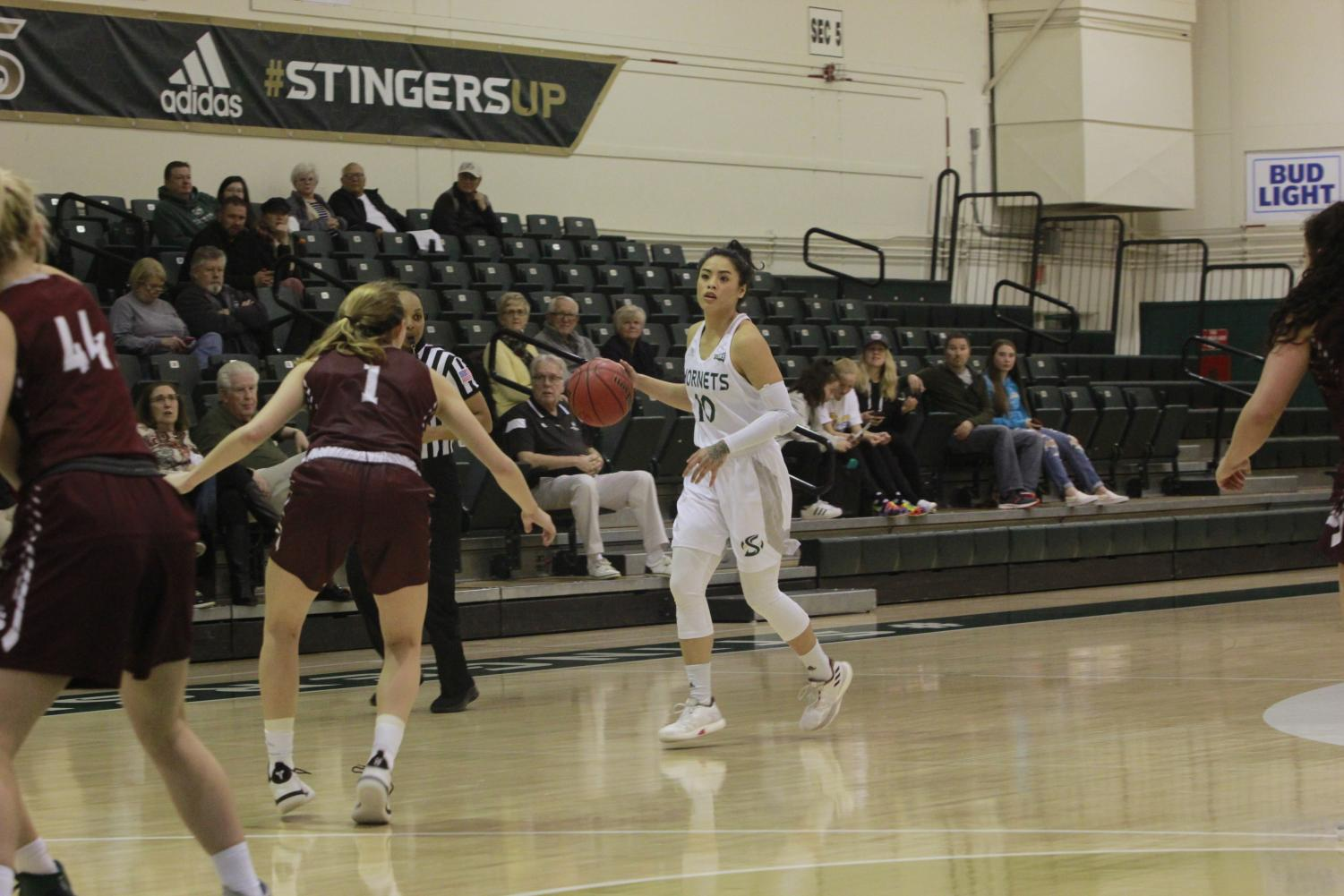 Sac State junior guard Gabi Bade waits for the play to develop in a 88-86 double-overtime loss to Montana at the Nest on Jan. 3.