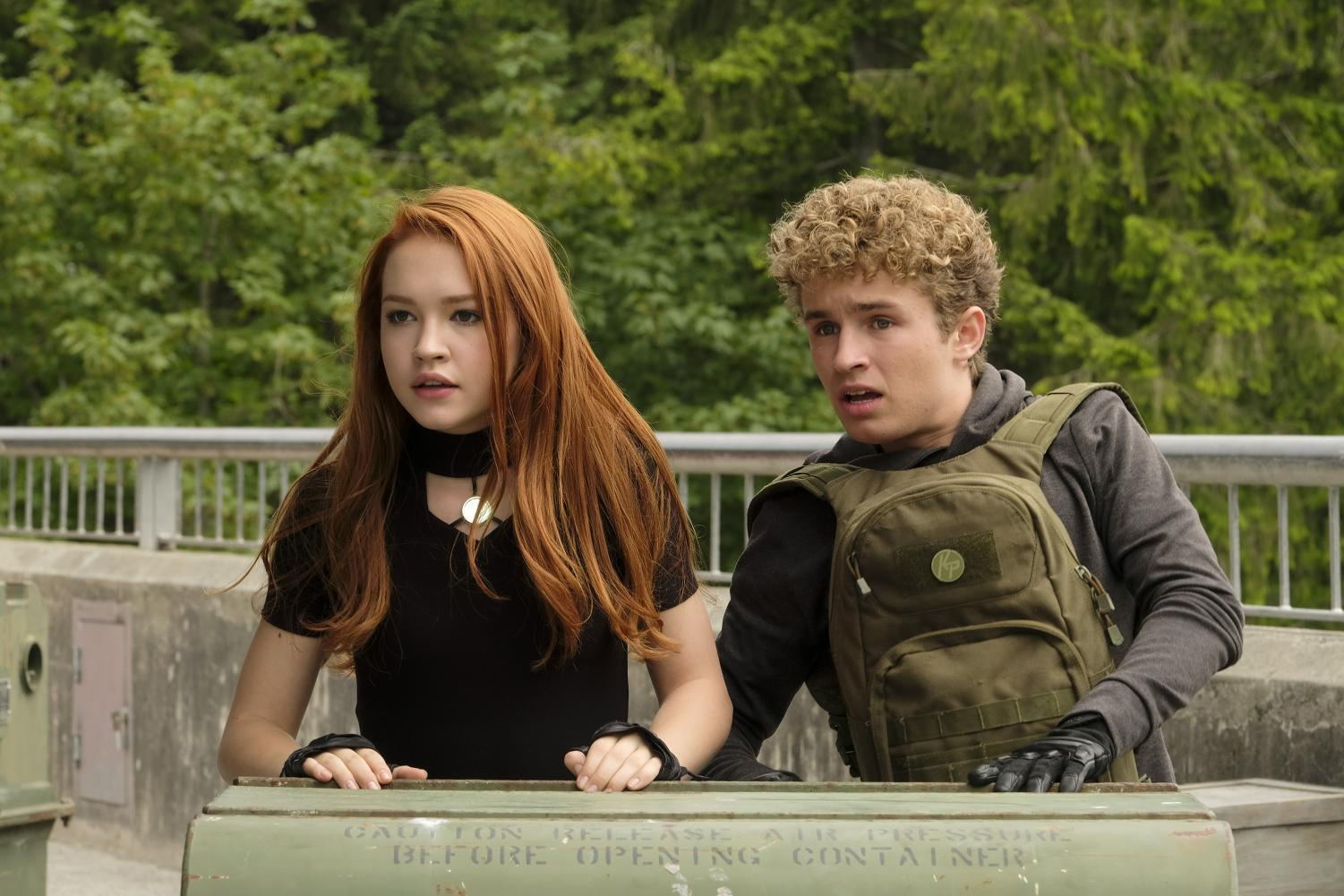 "Sadie Stanley, left, and Sean Giambrone star as Kim Possible and best friend and sidekick Ron Stoppable in the live action Disney Channel movie ""Kim Possible."""