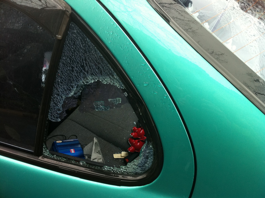 Windows are often broken as an attempt to steal any valuables inside a car.