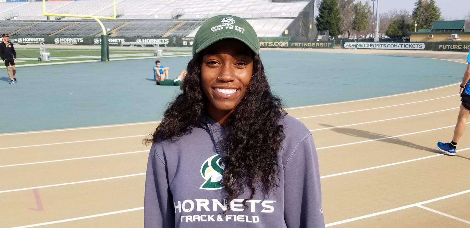 Sophomore Brittany Patterson poses on the track before practice at Sac State. Originally from Arizona, she arrived with a scholarship to run for Sac State.