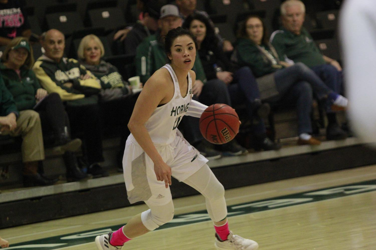 Sac State junior guard Gabi Bade crosses over in a 75-57 loss against Portland State Feb. 23 at the Nest. Bade finished with 20 points on five of 10 from three.