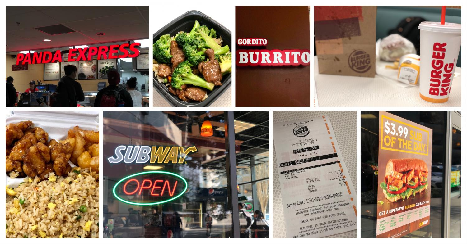 A variety of restaurant options at Sac State. Students expressed where to buy affordable food on campus.