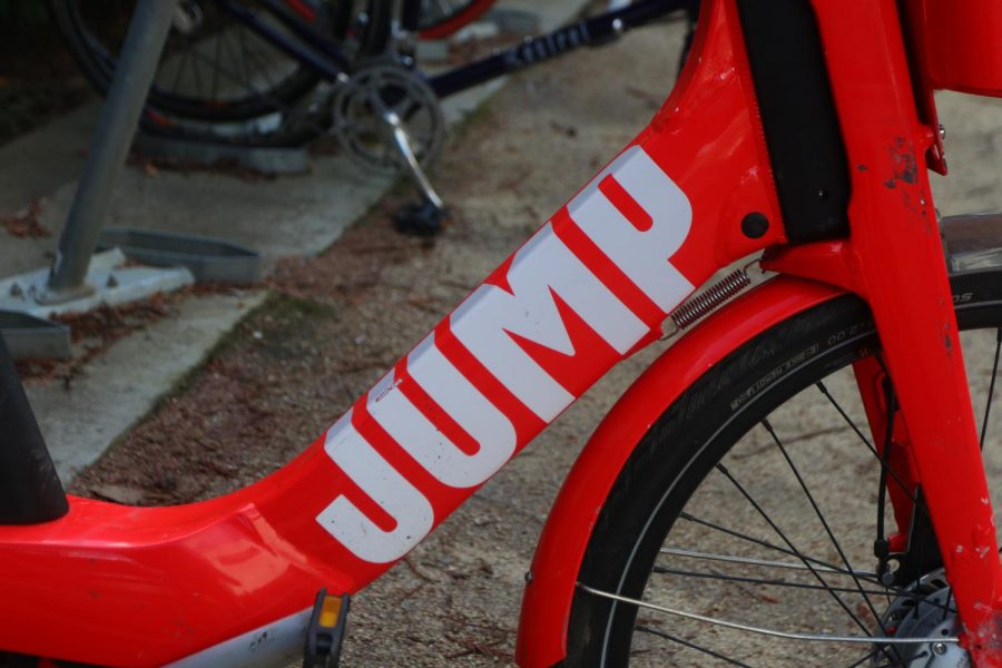 The JUMP logo on a bike in the racks outside of Mendocino Hall. The UBER owned JUMP recently was also allowed to start renting electric scooters in downtown Sacramento.