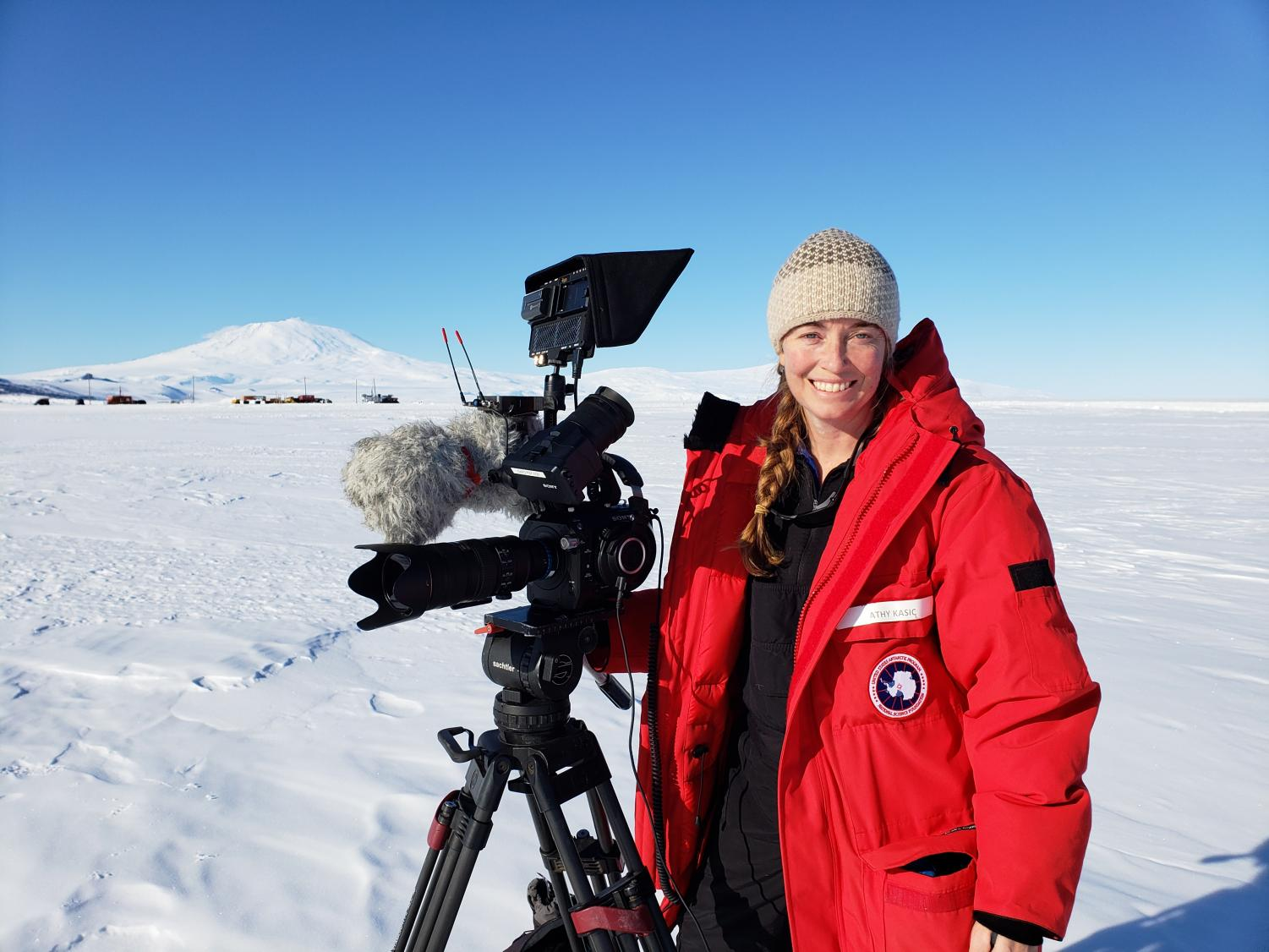 Kathy Kasic, a Sac State film professor, at McMurdo Station in Antarctica in Dec. 23. Kasic has returned from her expedition trip where she documented SALSA's findings.