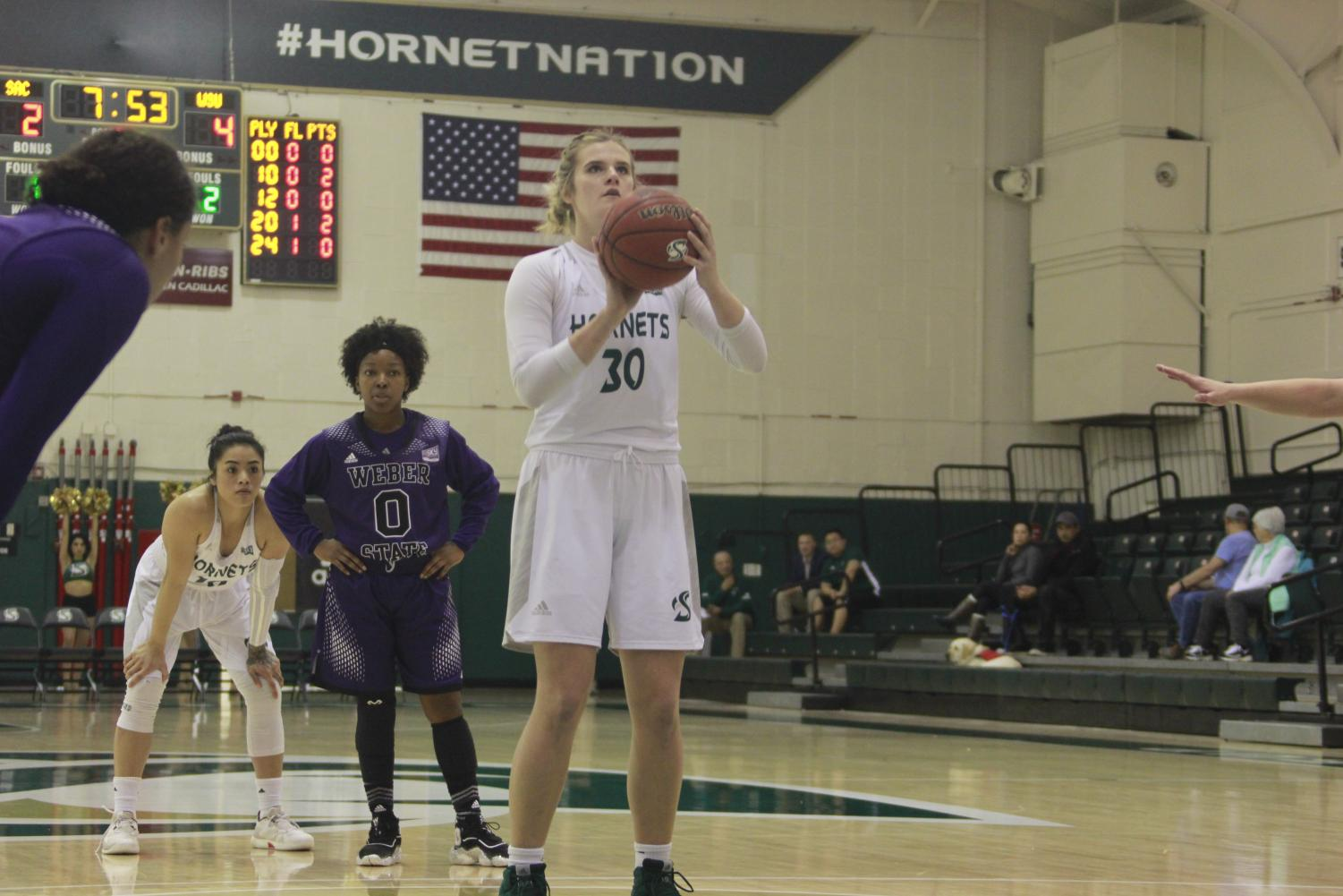 Sac State junior forward Kennedy Nicholas shoots a free throw during the Hornets 77-62 win over Weber State at the Nest on Saturday. Nicholas had 20 points and 12 rebounds (5 offensive) and four blocks for her fifth double-double in the last six games.