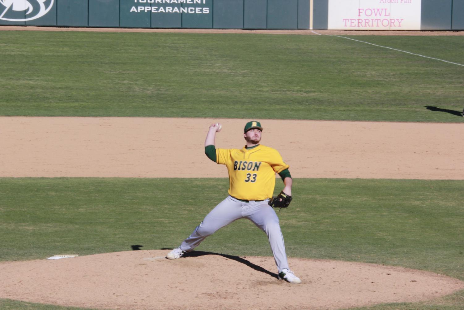North+Dakota+St.+sophomore+pitcher+Hunter+Koep+throws+a+pitch+in+a+2-1+loss+to+Sac+State+on+Sunday%2C+Feb.+17+at+John+Smith+Field.