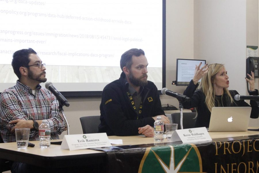 Erik Ramirez, Kevin Woldhagen and Kristina Victor discuss immigration topics with students at Sac State's downtown campus Feb. 26. The topics the panel discussed ranged from immigration enforcement, the International Rescue Committee, and the Deferred Action for Childhood Arrivals.