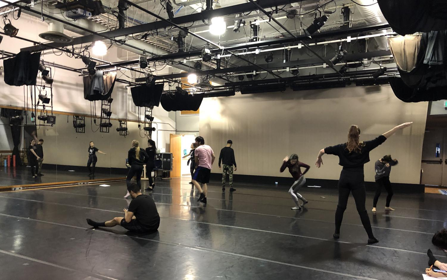 Sacramento State dance students work on their project for Dance Composition II in Solano Hall 1010. Including proper dressing rooms and restrooms in this space will help with accreditation.