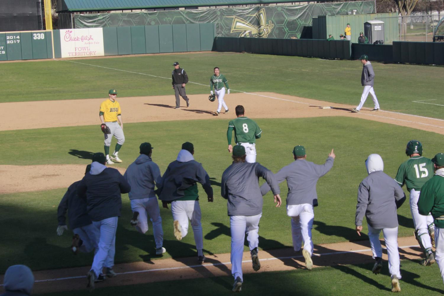 Sophomore infielder Nick Iwasa (top center) shouts in excitement after hitting a walk-off single in a 2-1 win over North Dakota St. on Sunday, Feb. 17 at John Smith Field. The Hornets swept the doubleheader to win the season-opening series.