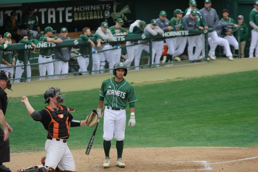 Sac+State+sophomore+infielder+Keith+Torres+steps+away+from+the+plate+in+between+pitches+in+a+6-2+loss+to+Pacific+on+Feb.+24+at+John+Smith+Field.+Torres+hit+well+over+the+weekend+going+6-17+against+the+Tigers+over+four+games.