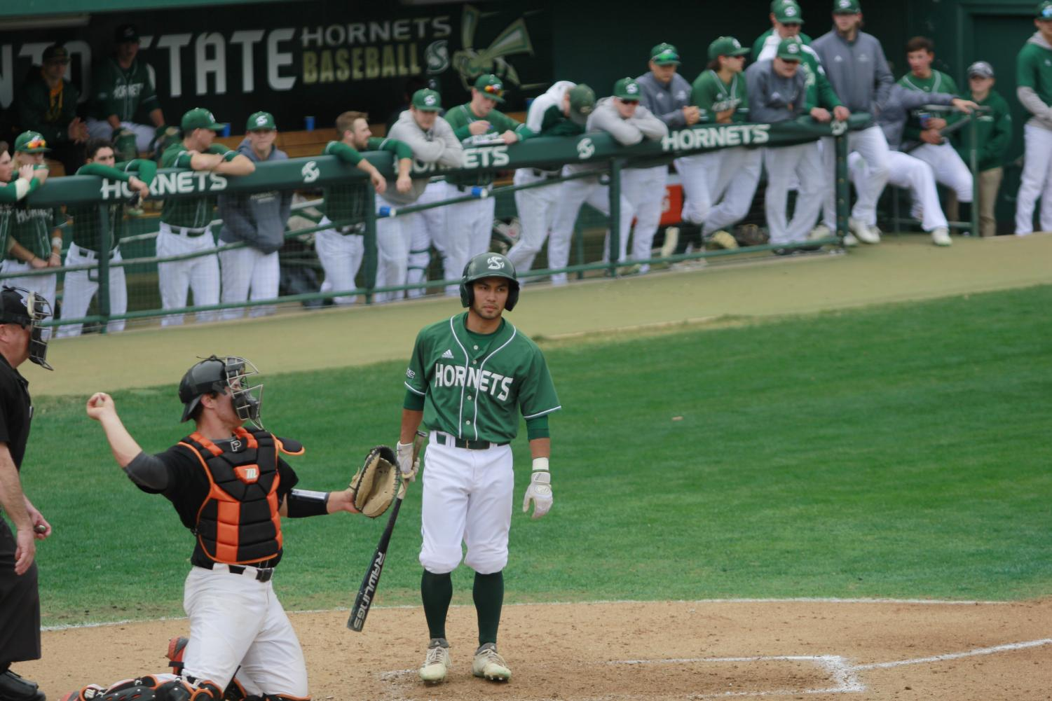 Sac State sophomore infielder Keith Torres steps away from the plate in between pitches in a 6-2 loss to Pacific on Feb. 24 at John Smith Field. Torres hit well over the weekend going 6-17 against the Tigers over four games.