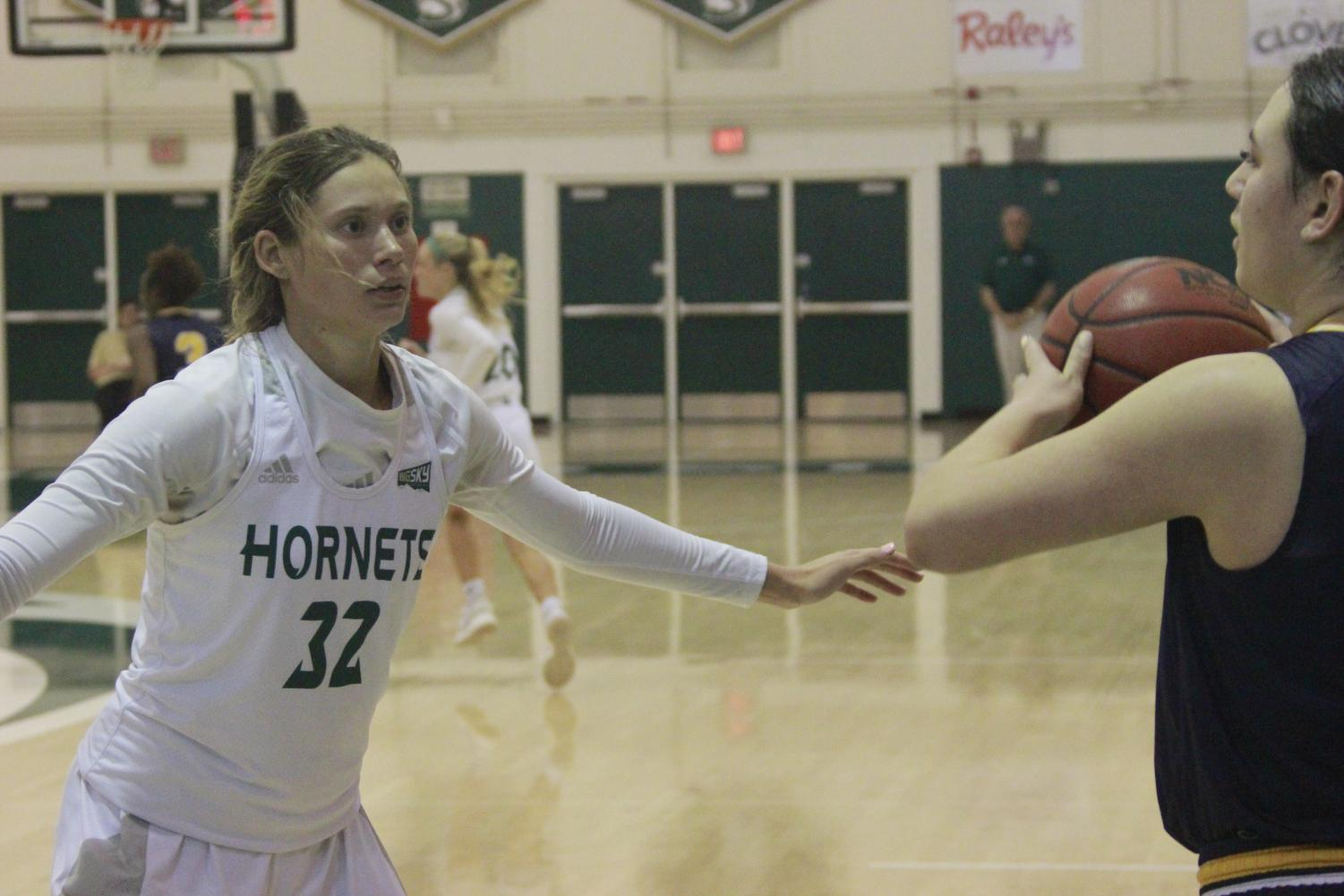 Sac State junior guard Hannah Friend guards an inbounds pass in a 71-61 loss to Portland State at the Nest on Feb. 11. Friend scored a team-high 20 points to put her over 1,000 career collegiate points.