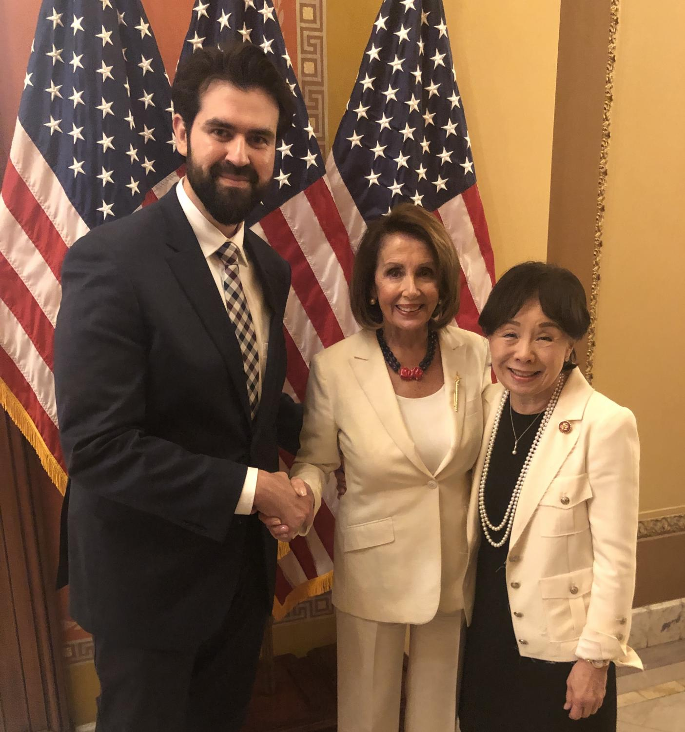 From left: Sac State Professor Jesus Limón, Speaker of the House of Representatives Nancy Pelosi, and Doris Matsui, U.S. Representative for California's 6th district all outside the hall before the The State of the Union Address. Limón was invited by Matsui as her personal guest for the event.