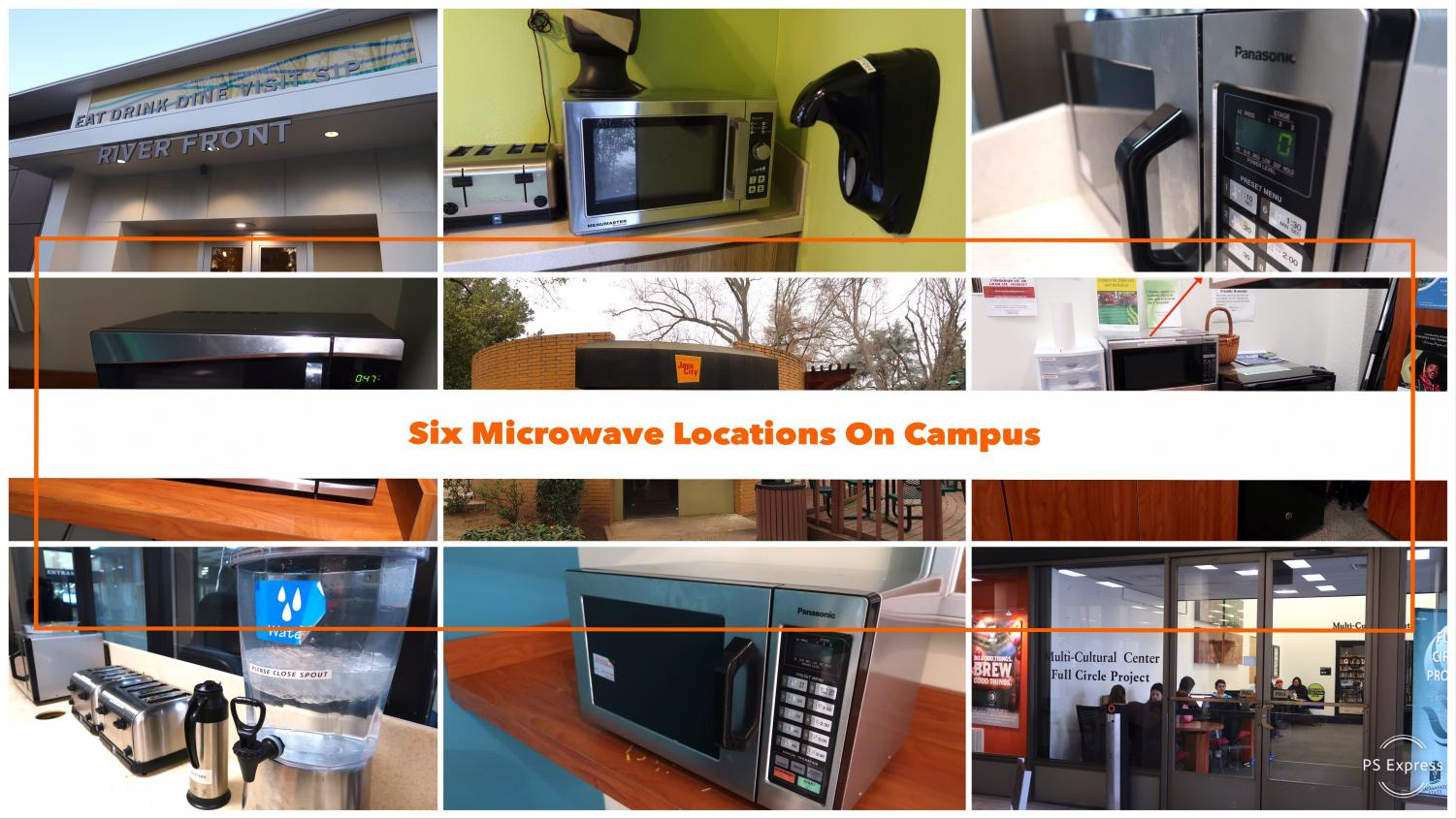 Six convenient microwave locations on campus. Collage made with Premiere Pro photoshop.