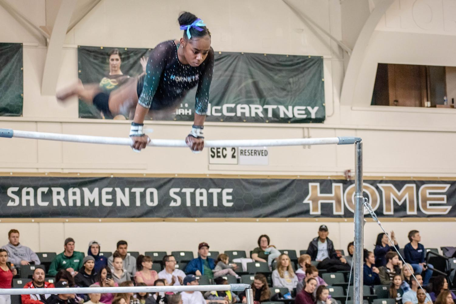 Sac+State+gymnast+freshman+Destiny+Watley+records+a+9.550+on+the+uneven+bars.+The+Hornets+scored+46.850+in+the+event.