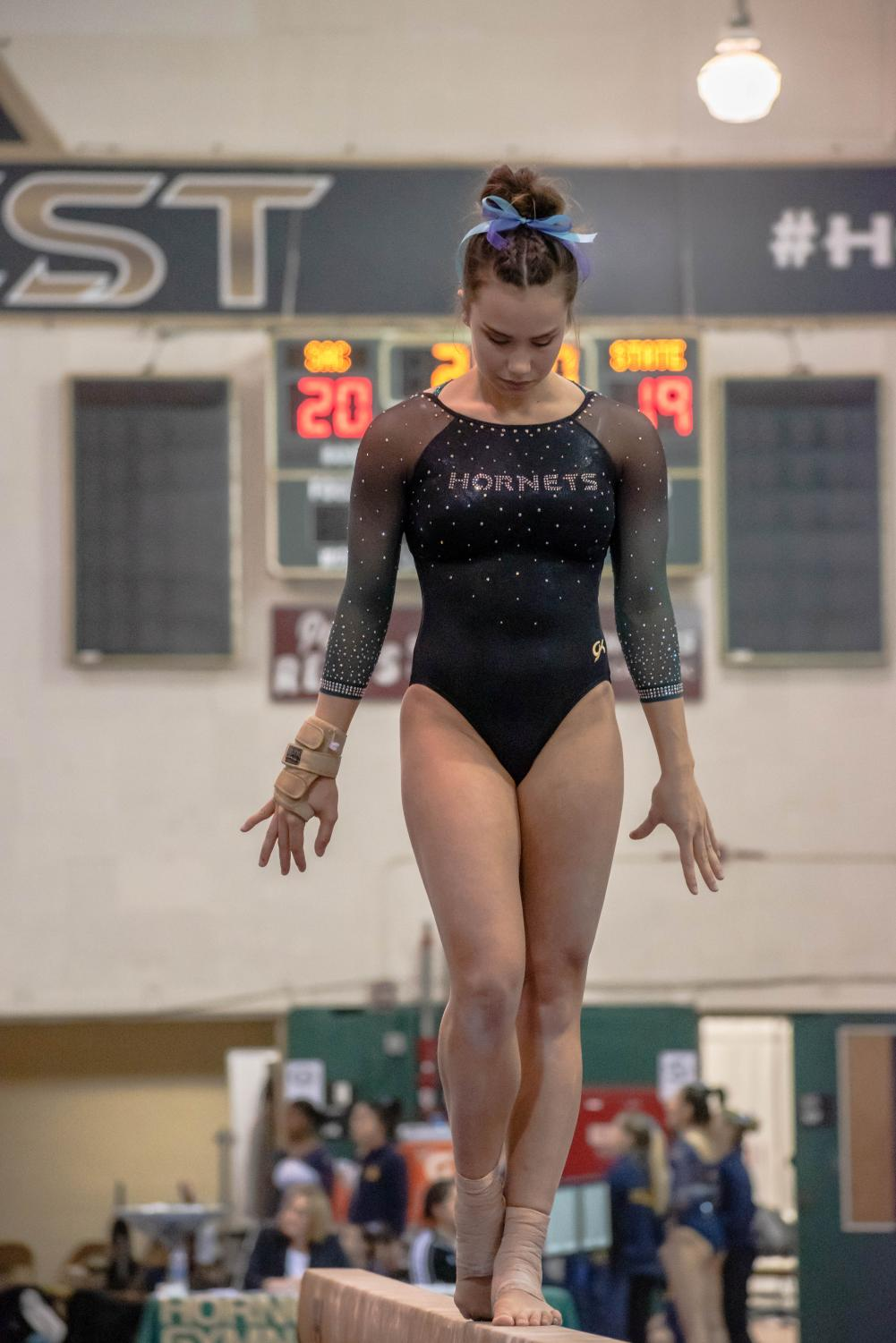 Sac+State+senior+gymnast+Lauren+Schmeiss+performs+on+the+balance+beam%2C+where+she+scored+a+9.750.+On+her+next+event%2C+floor%2C+she+set+a+career+high+score+of+9.850.