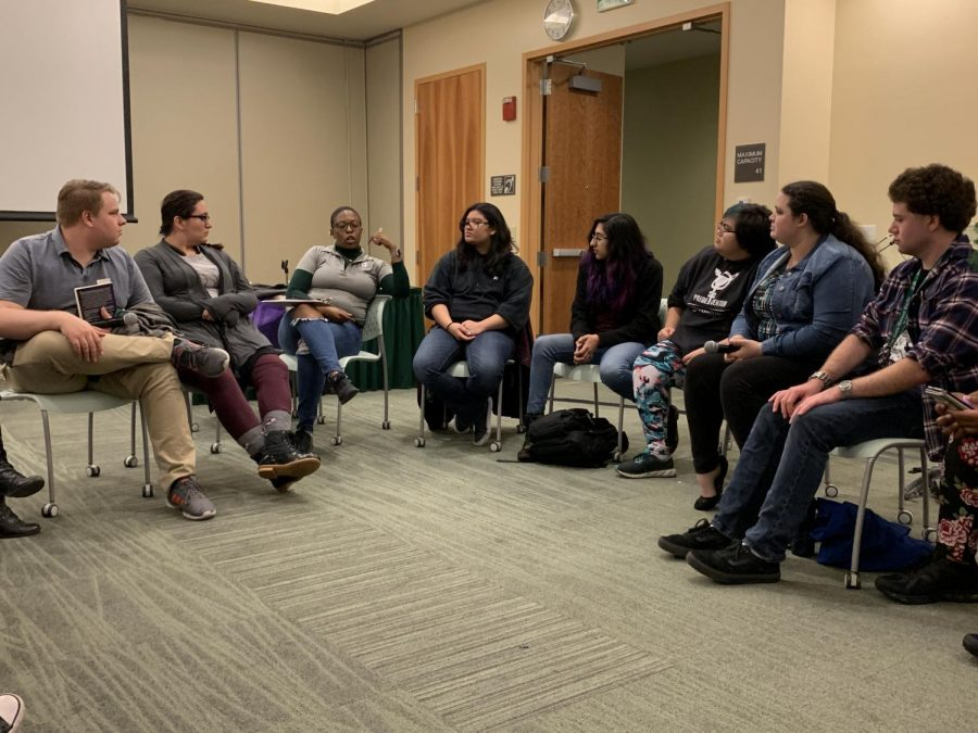Sac+State%27s+PRIDE+Center%E2%80%99s+Program+Coordinator+Melissa+Mugazo+explains+how+students+can+seek+resources+on+campus+during+the+Religion+and+Sexuality+Panel+Monday.+Students+were+encouraged+to+share+their+own+aspects+of+religion%2C+spirituality%2C+sexuality%2C+personal+stories+and+ask+questions+to+the+staff+about+their+own+curiosities.