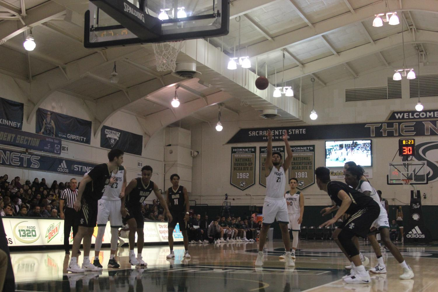 Sac State sophomore Ethan Esposito shoots a free throw during the Hornets 69-48 win over University of Idaho on Jan. 24. The Hornets are currently 13-14 overall and 7-11 in the Big Sky Conference.
