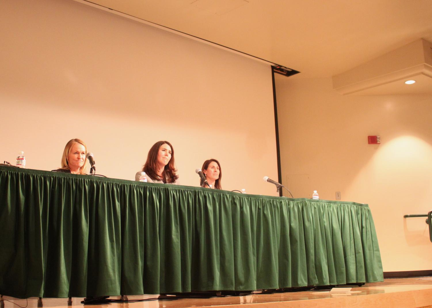 From left: Kristen Tudor, Sarah Kirby-Gonzalez and Rebecca Kluchin speak at the