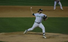 Sac State junior right-handed pitcher Austin Roberts throws a pitch in a 6-0 win over Cal Tuesday at John Smith Field. Roberts started and got the win despite only pitching two innings in the victory.