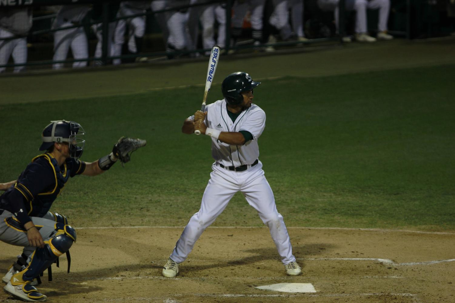 Sac+State+sophomore+infielder+Keith+Torres+anticipates+a+pitch+in+a+6-0+win+over+Cal+Tuesday+at+John+Smith+Field.+Torres+had+one+hit+and+one+walk+with+two+RBIs+in+the+victory.