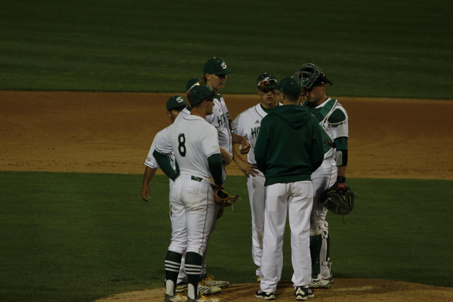 Members+of+the+Sac+State+infield+have+a+meeting+on+the+mound+in+a+6-0+win+over+Cal+Tuesday+at+John+Smith+Field.+The+Hornets+went+12-1+on+a+season-long+13+game+homestand.