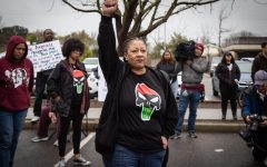 Tanya Faison, Sacramento's Chapter Leader for Black Lives Matter chants with  a group of protestors on March 2 outside the Sacramento Police Department headquarters on Freeport Boulevard. The Sacramento County District Attorney's decision not to charge the officers responsible for shooting and killing unarmed 22-year-old Stephon Clark has sparked multiple protests and other events to be planned in Sacramento and Sac State.