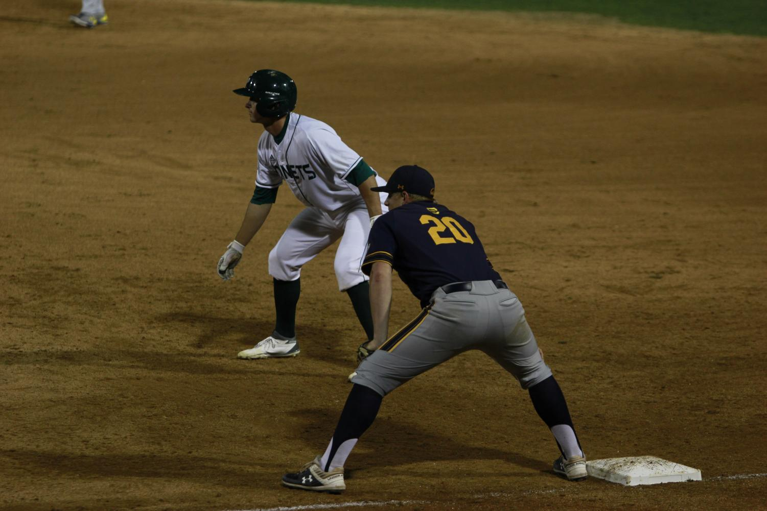 Sac+State+sophomore+catcher+Dawsen+Bacho+leads+off+from+first+base+in+a+6-0+win+over+Cal+Tuesday+at+John+Smith+Field.+Bacho+had+one+hit%2C+one+walk+and+one+RBI+in+the+victory.