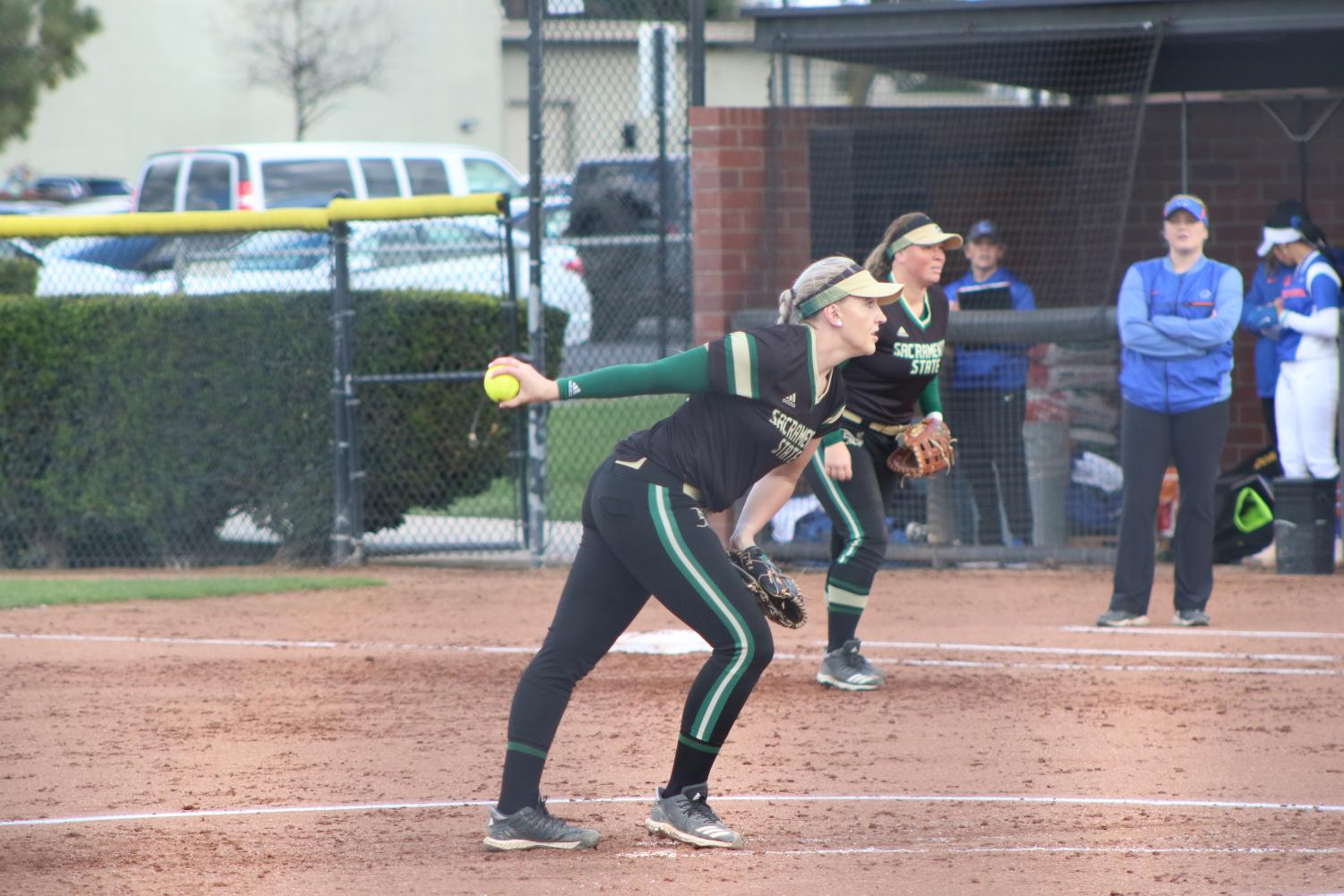 Sac State senior right-hander Savanna Corr pitches in a 2-5 loss against Boise State on Friday at Bill Simoni Field. The Hornets had an early lead, but lost energy late in the game, according to players.