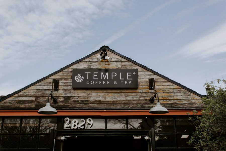 A+view+of+the+shop+from+the+outdoor+seating+area+on+Feb.+24.+Temple+Coffee+is+located+on+2829+S+St.
