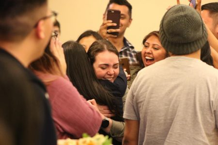 Newly-elect Associated Students, Inc. Vice President of Finance Denisse Garcia celebrating with former ASI President Mia Kagianas. Garcia was elected into her new position at an election party held at The Well April 10, 2019.