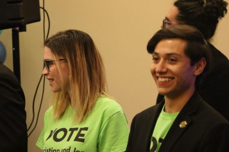 Jen Gross and Christian Miguel Landaverde after hearing the results of the Associated Students, Inc. elections on April 10, 2019, at the elections party. Gross and Miguel ran for the president and executive vice-president positions, winning by 52 votes above Virginia Diaz Lazaro & Migdalia Sazo.