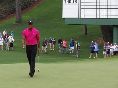 Tiger Woods walks off the sixth green during a practice round on Tuesday April 7, 2015. He would go on to finish tied for 17th at the event.