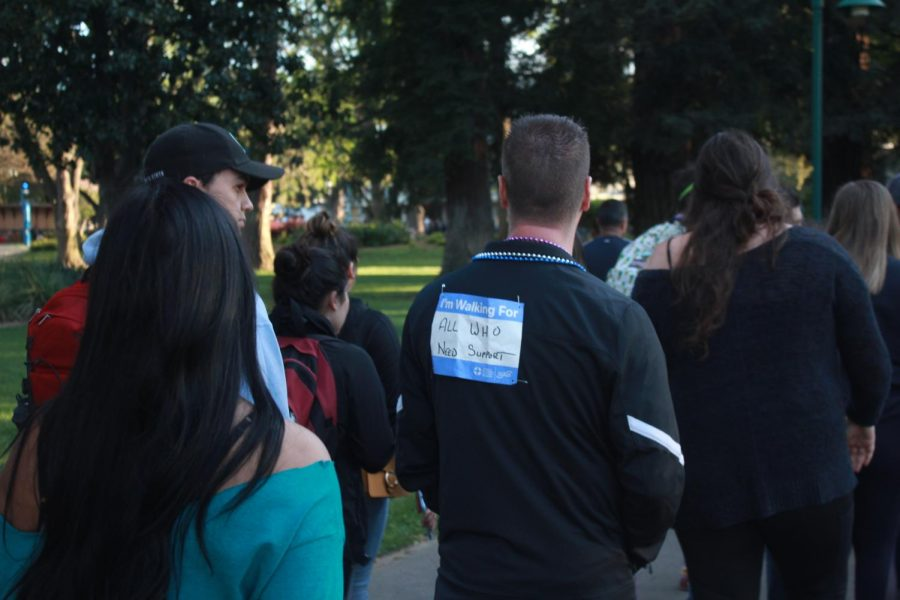 Some+participants+at+Sac+State%27s+eighth+annual+Out+of+the+Darkness+walk+wore+signs+to+show+why+they+were+attending.+Signs+either+had+names+or+showed+support.+