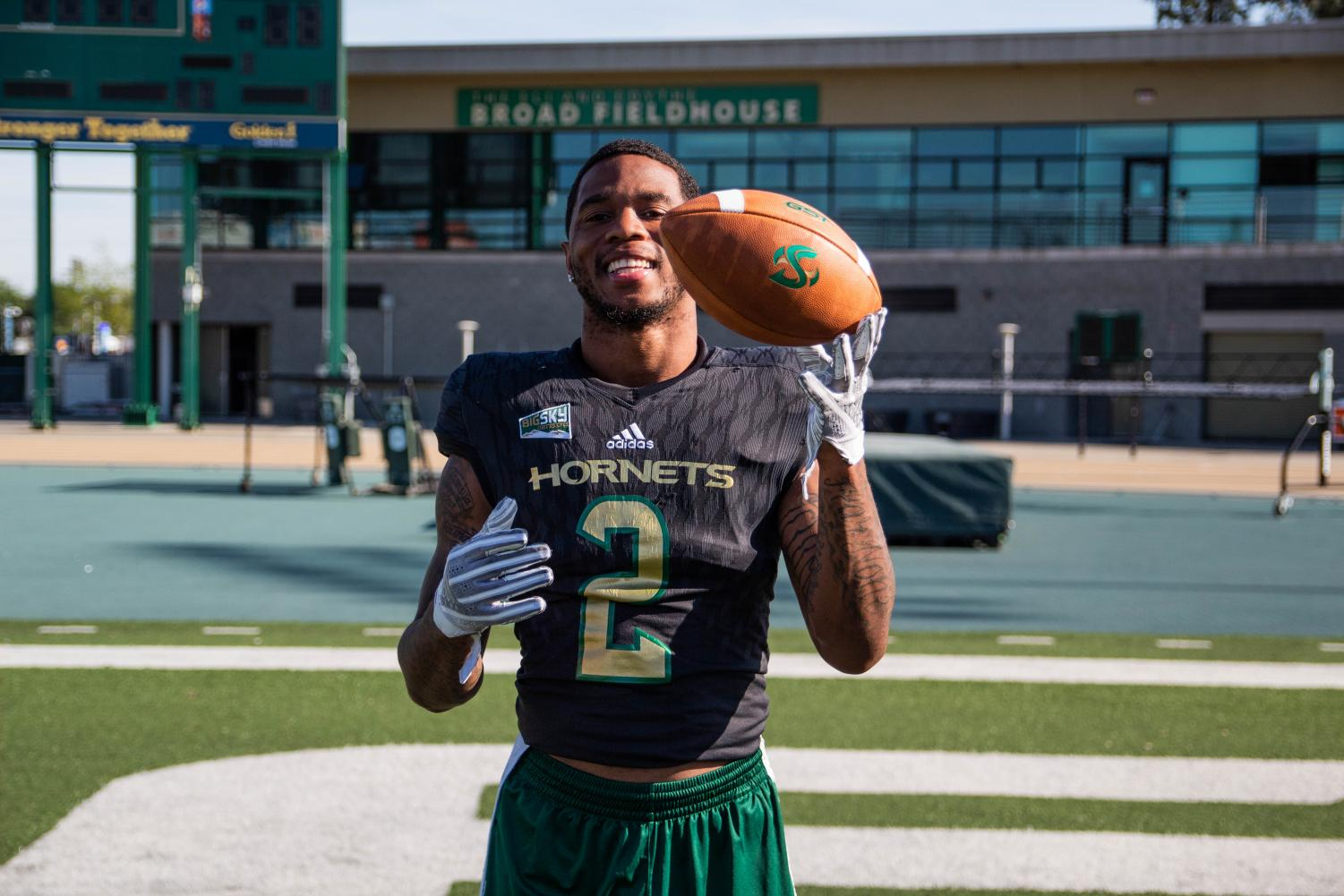 Sac+State+senior+safety+Mister+Harriel+poses+for+a+photo+April+18+at+Hornet+Stadium.+Harriel+is+hopeful+to+be+selected+in+the+2019+NFL+Draft.+